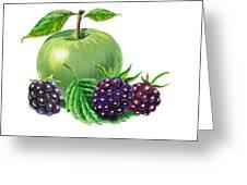 Green Apple With Blackberries Greeting Card