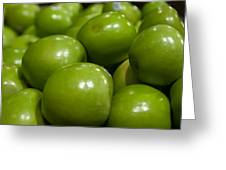 Green Apples On Display At Farmers Market Greeting Card