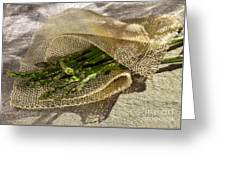 Green Asparagus On Burlab Greeting Card