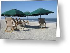 Green Beach Umbrellas Greeting Card