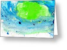 Green Blue Art - Making Waves - By Sharon Cummings Greeting Card