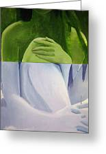 Green Blue Nue Diptych Greeting Card