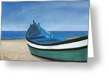 Green Boat Blue Skies Greeting Card