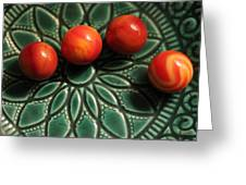 Green Bowl Red Marbles Greeting Card