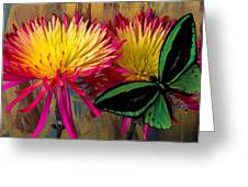 Green Butterfly On Fire Mums Greeting Card