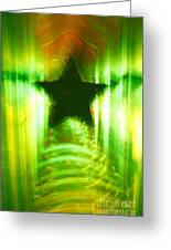 Green Christmas Star Greeting Card by Gaspar Avila