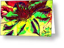 Green Clematis Flower Greeting Card