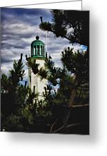 Green Copper Lantern Room On Scituate Lighthouse Greeting Card