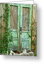 Green Cottage Doors Greeting Card