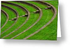 Green Curves And Steps Greeting Card