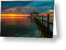 Green Dock And Golden Sky Greeting Card
