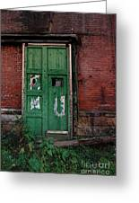Green Door On Red Brick Wall Greeting Card by Amy Cicconi