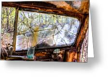Green Drinking Glass And Smoky Bronken Windshield Greeting Card