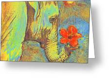 Green Elephant Greeting Card