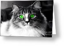 Green Eyed Elvis Greeting Card