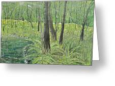 Green Fern Greeting Card by Leo Gehrtz