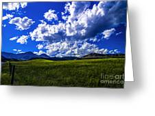 Green Field Of Clouds Greeting Card
