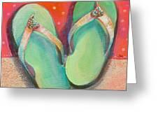 Green Flip Flops Greeting Card