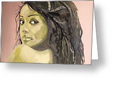 Green Girl  Greeting Card by Roger Medcalf
