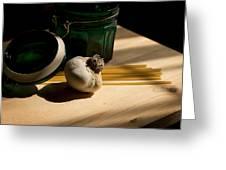 Green Glass And Garlic Greeting Card