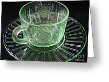 Green Glass Cup And Saucer Greeting Card
