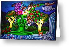 Green Goddess With Waterfall Greeting Card