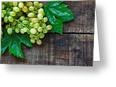 Green Grapes On A Rustic Wooden Table Greeting Card
