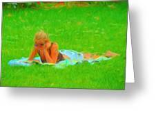 Green Grass Girl Greeting Card