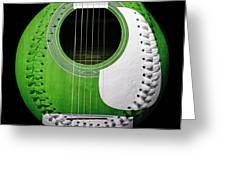 Green Guitar Baseball White Laces Square Greeting Card