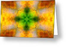 Green Heart Rainbow Light Mandala Greeting Card