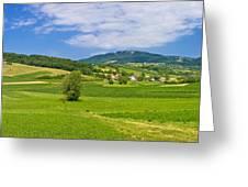 Green Hills Nature Panoramic View Greeting Card