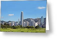 Green Hong Kong Skyline Greeting Card by Lars Ruecker