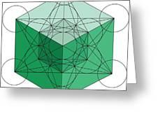 Green Hypercube Greeting Card