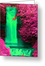 Green Irish Waterfall Surrounded By Pink Greeting Card