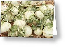 Green Kohlrabi Basket Display Greeting Card