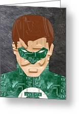 Green Lantern Superhero Portrait Recycled License Plate Art Greeting Card