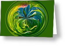Green Leaf Orb Greeting Card