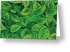 Green Leaves - V1 Greeting Card