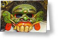 Green Mask Greeting Card by Gregory Dyer