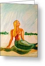 Green Mermaid Greeting Card
