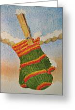 Green Mittens Greeting Card