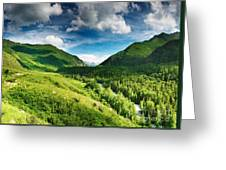 Green Mointain Greeting Card by Boon Mee