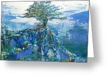Green Mountain Tree Greeting Card
