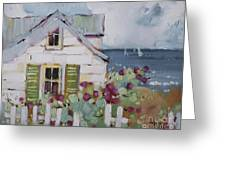 Green Nantucket Shutters Greeting Card by Joyce Hicks