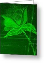 Green Negative Wood Flower Greeting Card