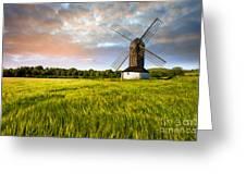 Green Ocean ''pitstone Windmill'' Greeting Card