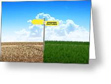 Green Pastures Sign Greeting Card