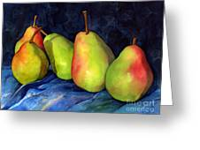 Green Pears Greeting Card