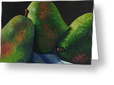 Green Pears With Shadows Cast Greeting Card