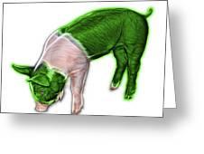 Green Piglet - 0878 Fs Greeting Card